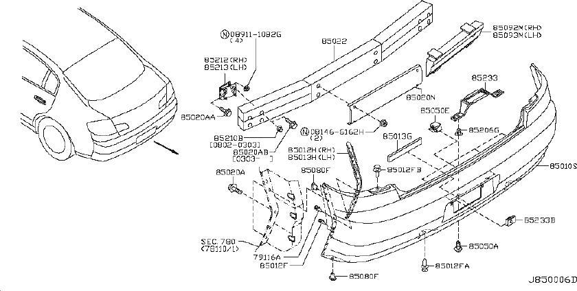 INFINITI G35 Bumper Cover Support Rail (Left, Rear