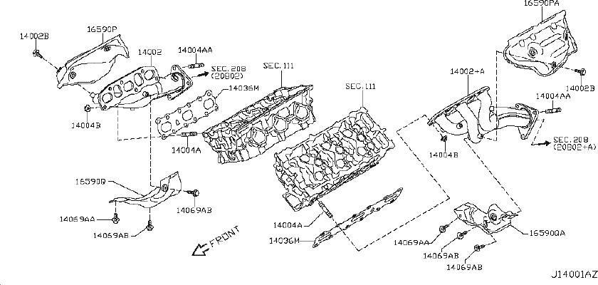 INFINITI G35 Engine Intake Manifold Gasket. EXHAUST, COVER