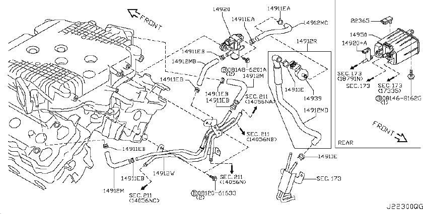INFINITI G35 Hose Evaporator Contour. Hose Fuel