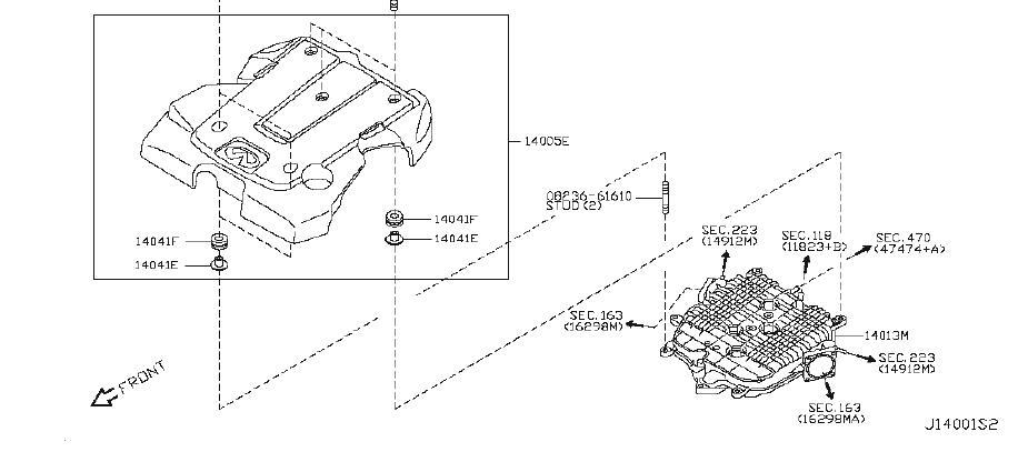 INFINITI M35 Engine Intake Manifold. EXHAUST, COVER