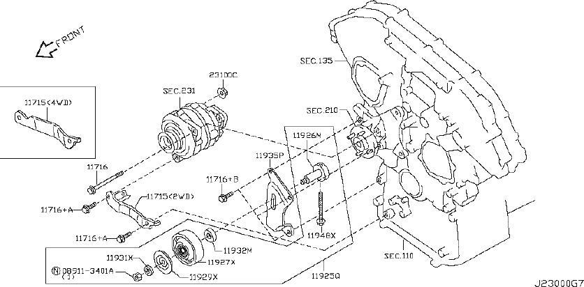 INFINITI M35 Accessory Drive Belt Idler Pulley Cap