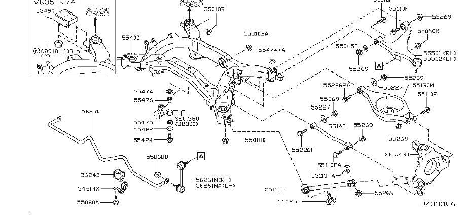 INFINITI M35 Spring Suspension. (Rear). MEMBER, LINK