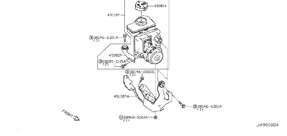INFINITI M37 Power Steering Pump Bracket. Suspension