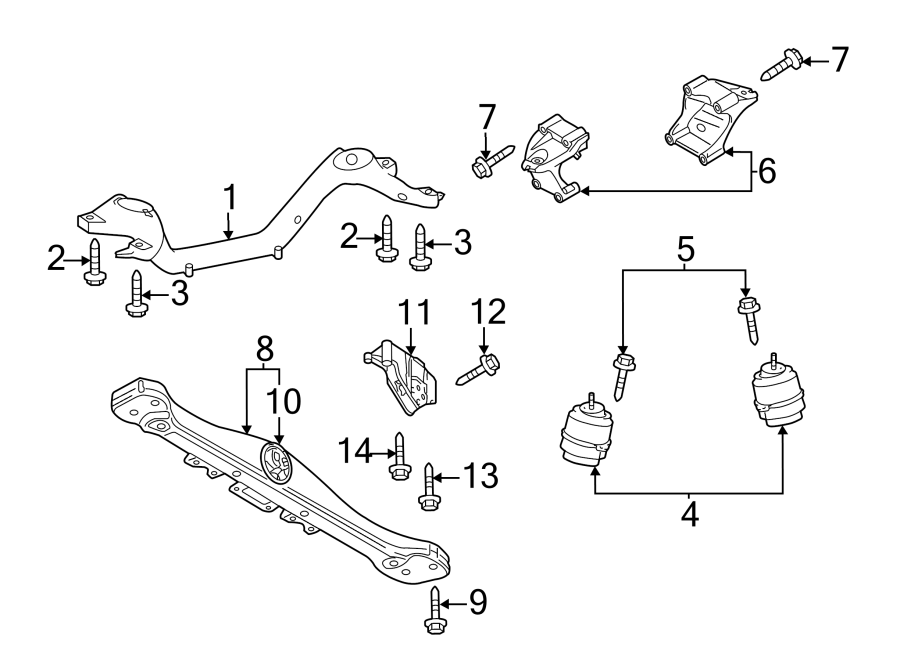 Volkswagen Touareg Transmission mount bracket. Engine