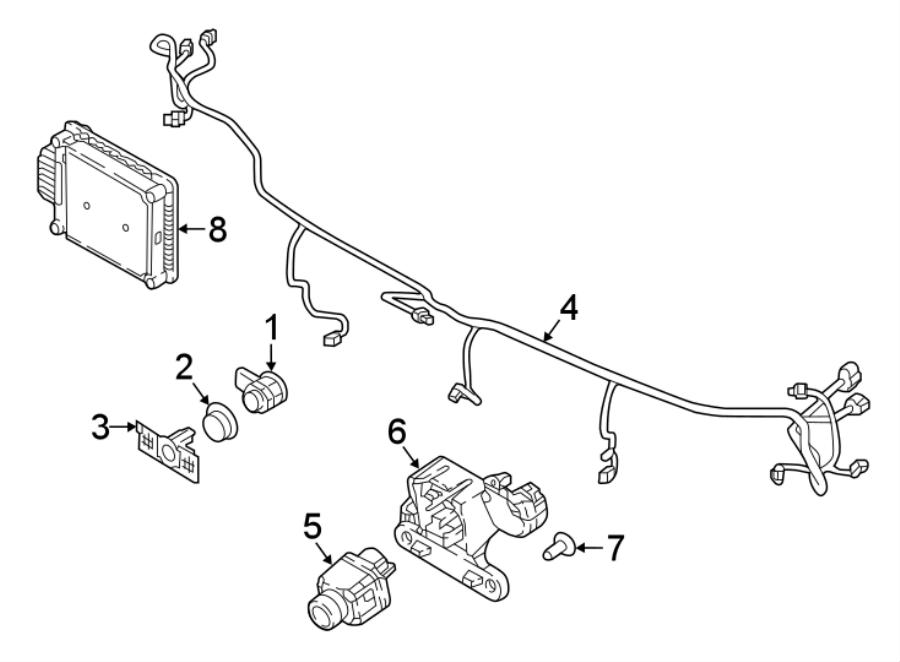 Volkswagen Tiguan Parking Aid System Wiring Harness. W/R