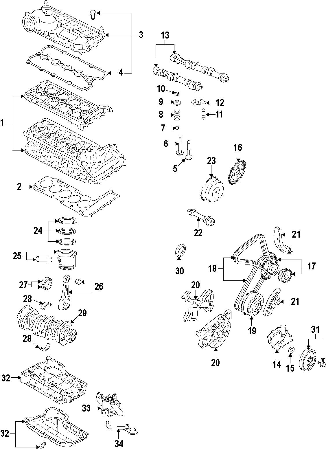 Volkswagen Beetle Engine Crankshaft Main Bearing. Lower
