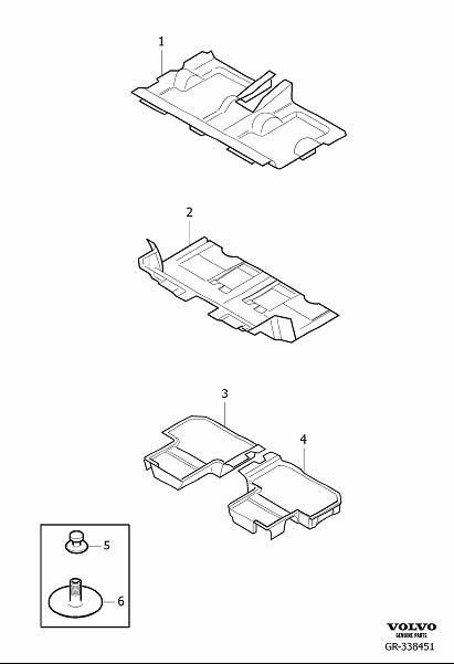 Volvo XC90 Carpet. Floor Upholstery. (Rear, Mocca