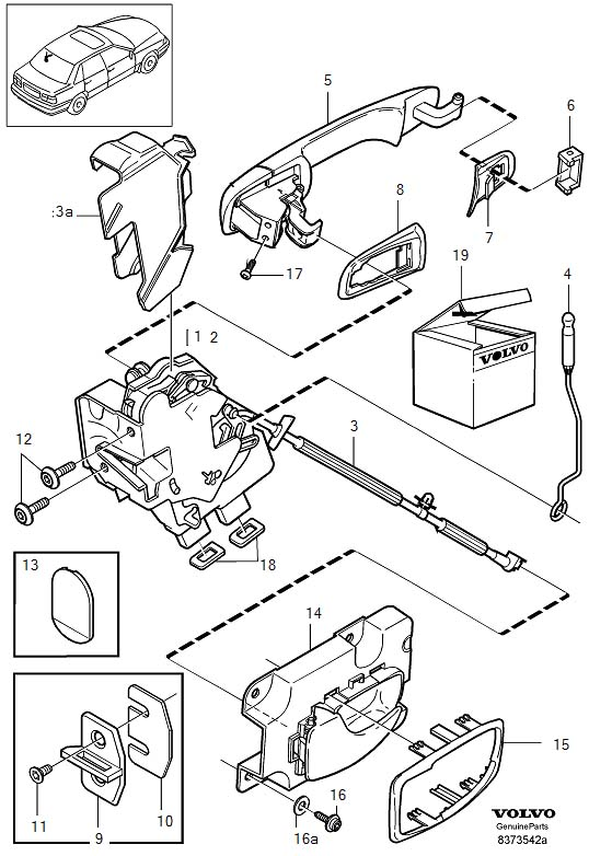 Volvo S70 Door Latch Cable (Left, Front, Rear). Locking