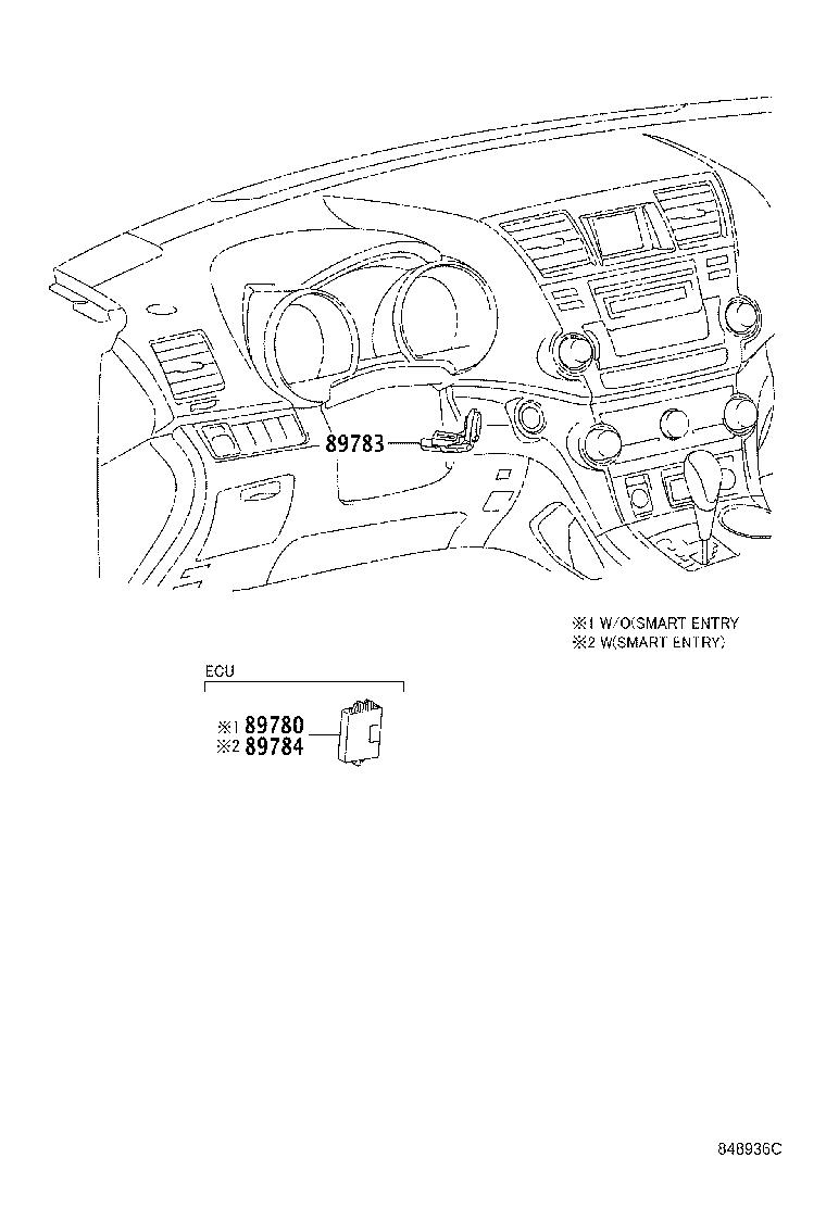 Toyota Highlander Computer assembly, transponder key