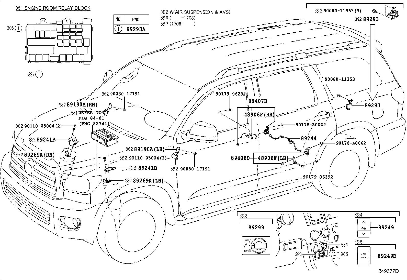 Toyota Sequoia Wire, absorber control, rear. Plat