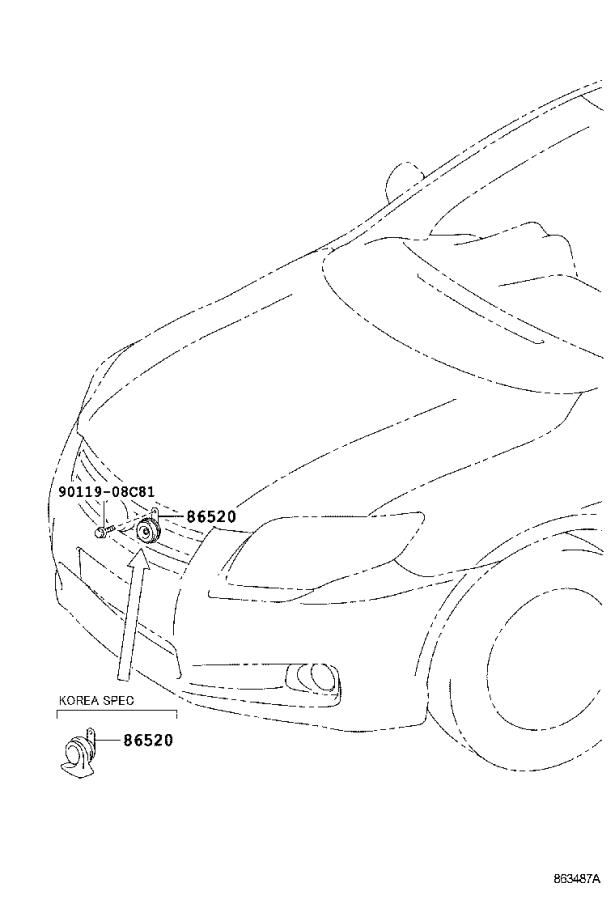Toyota Corolla Horn assembly, low pitched. Korea, spec