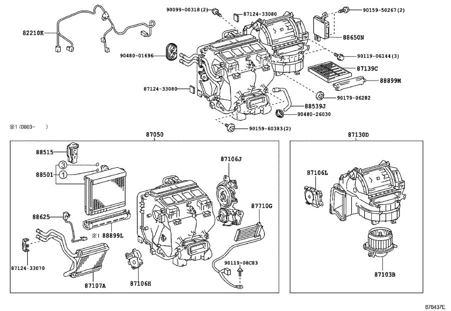 Toyota Camry Hvac system wiring harness. Air, conditioner