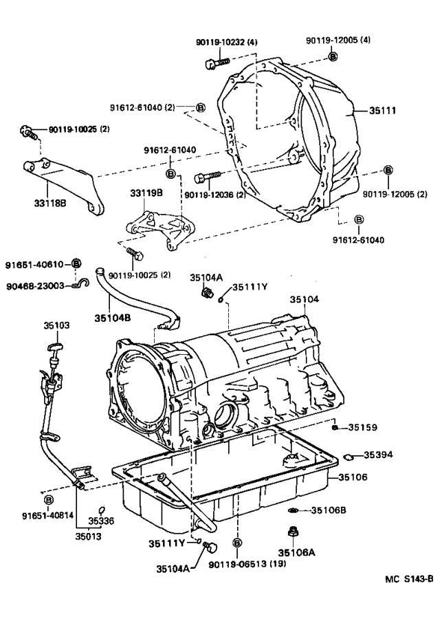 Toyota T100 Case sub-assembly, automatic transmission. Atm