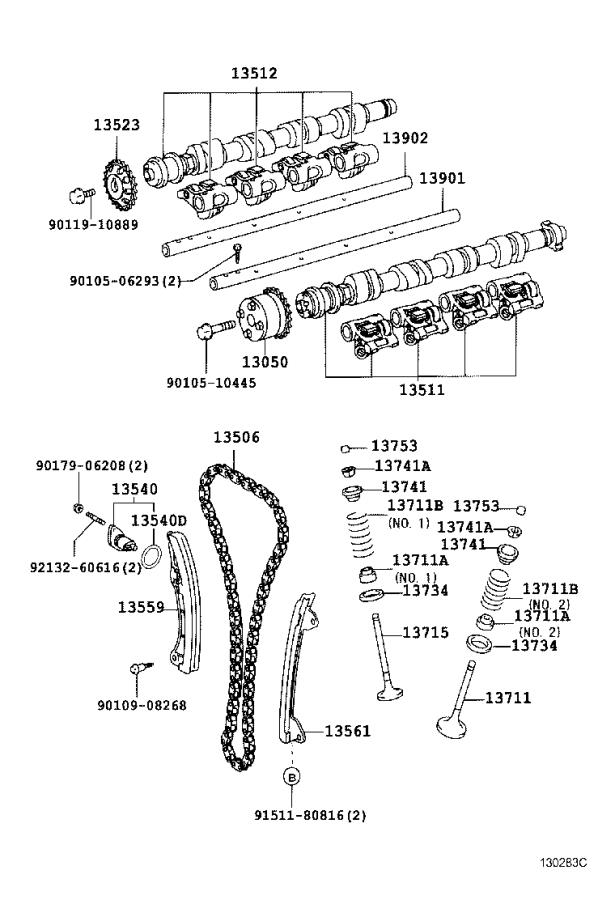 Toyota Celica Engine Camshaft. A lobed shaft used to open
