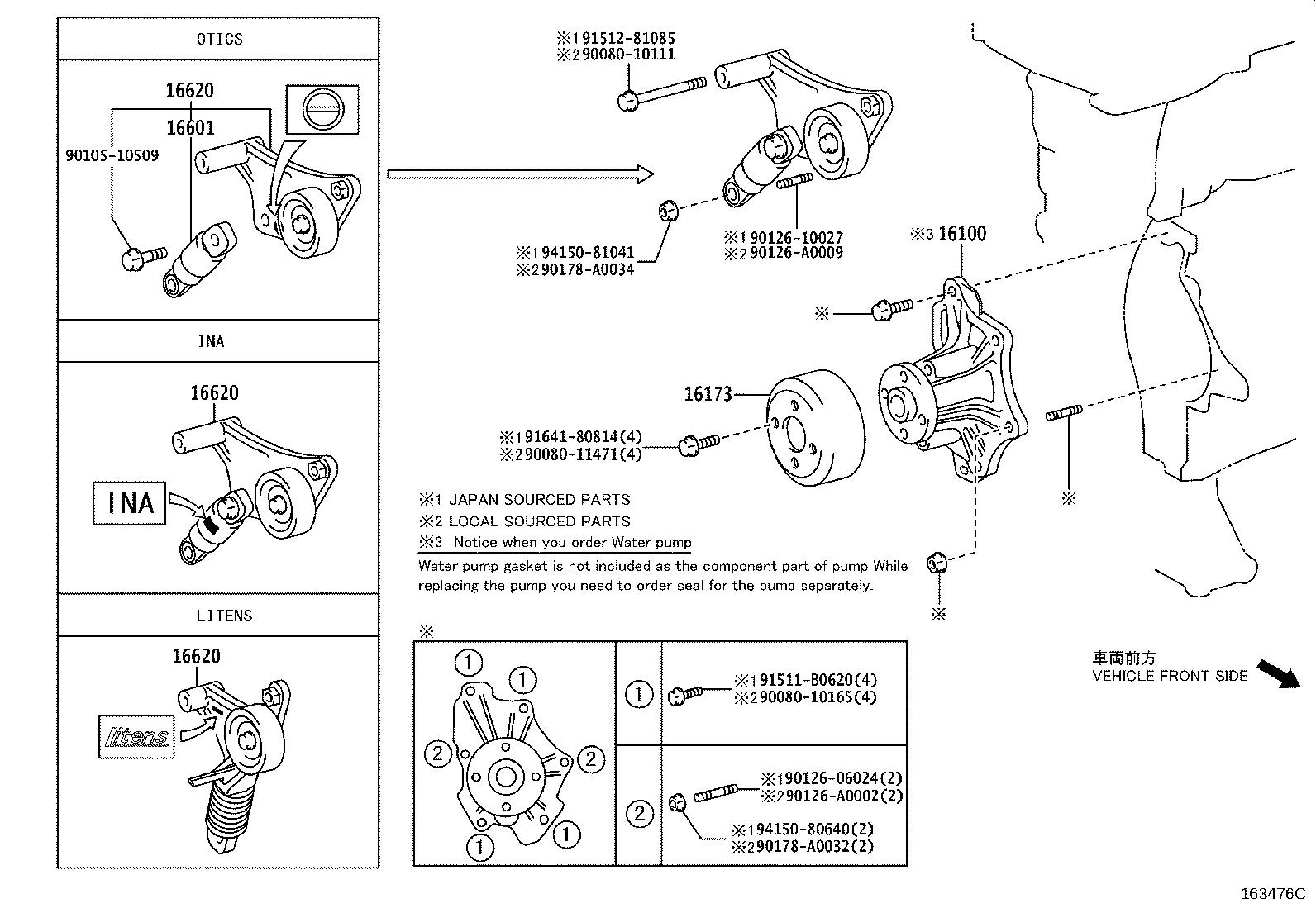 Toyota Corolla Tensioner assembly, v-ribbed belt. Otics