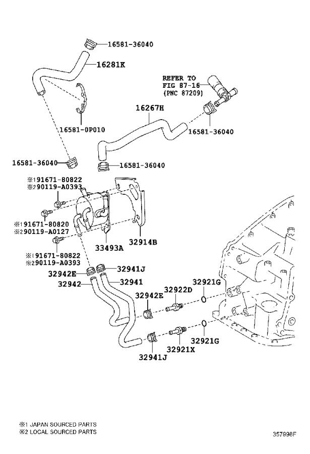 Toyota Camry Hose, water by-pass, no. 3. Transmission