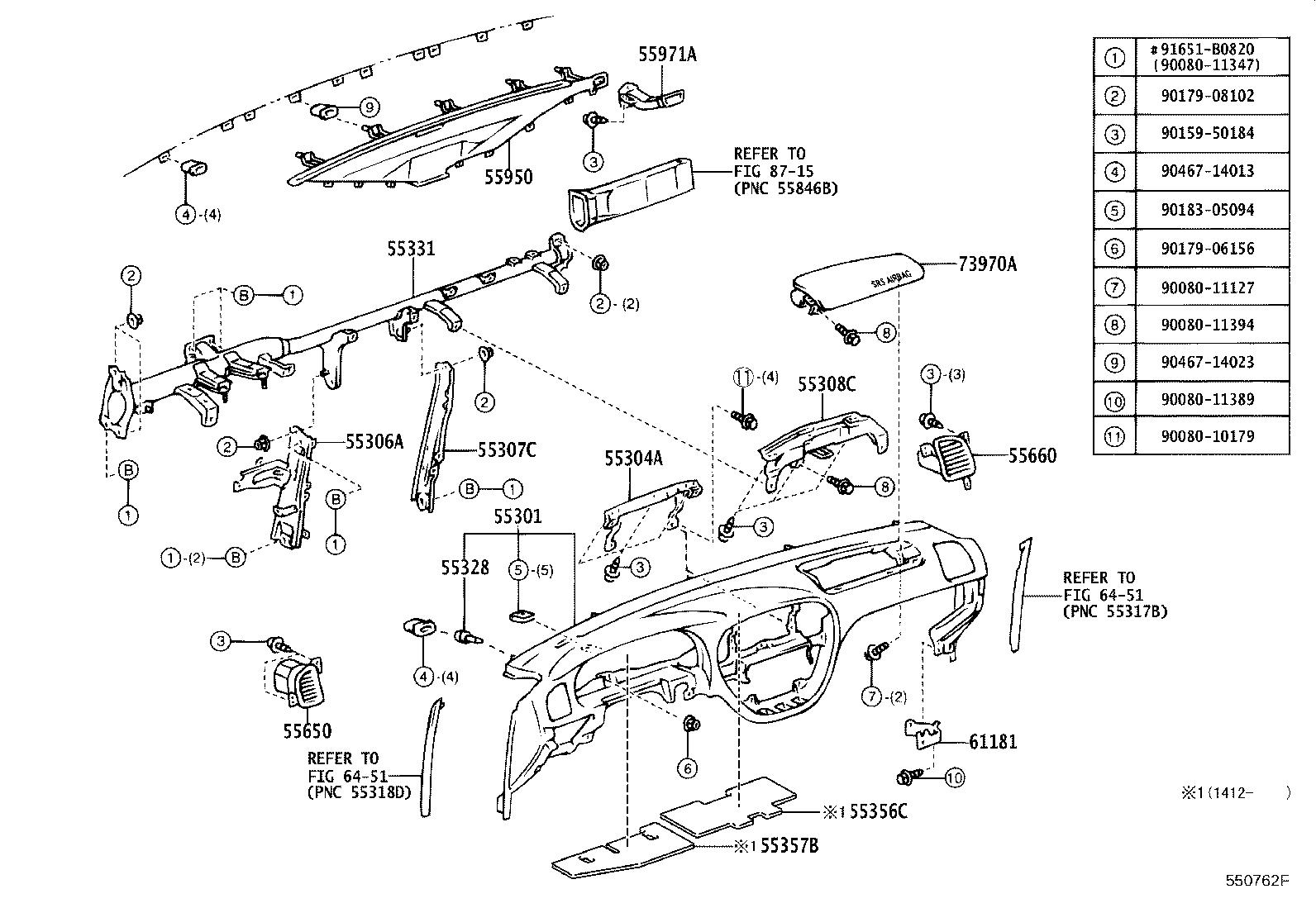 Toyota Sequoia Panel sub-assembly, instrument. Dk.charcoal