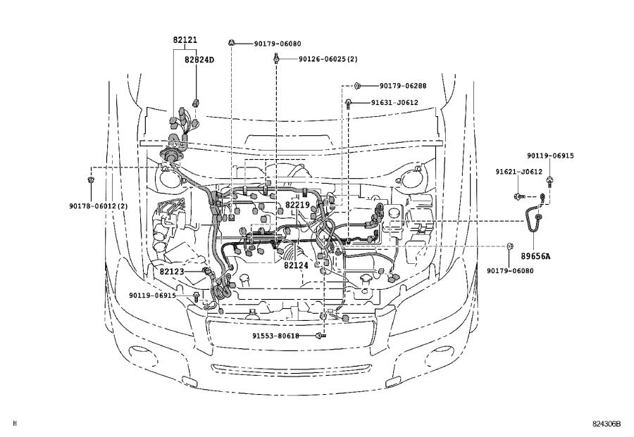 Toyota Highlander Wire, cowl. Engine, clamp, electrical