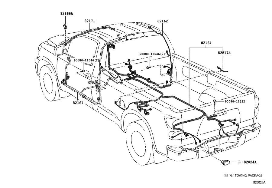 Toyota Tundra Wire, frame, no. 2. Engine, front, clamp