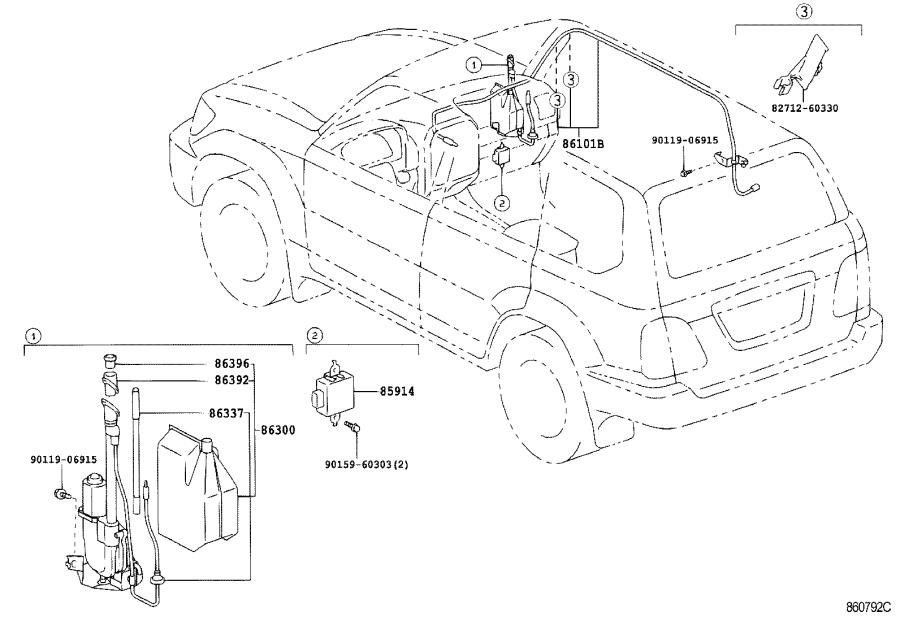 Toyota Land Cruiser Cord sub-assembly, antenna. Electrical