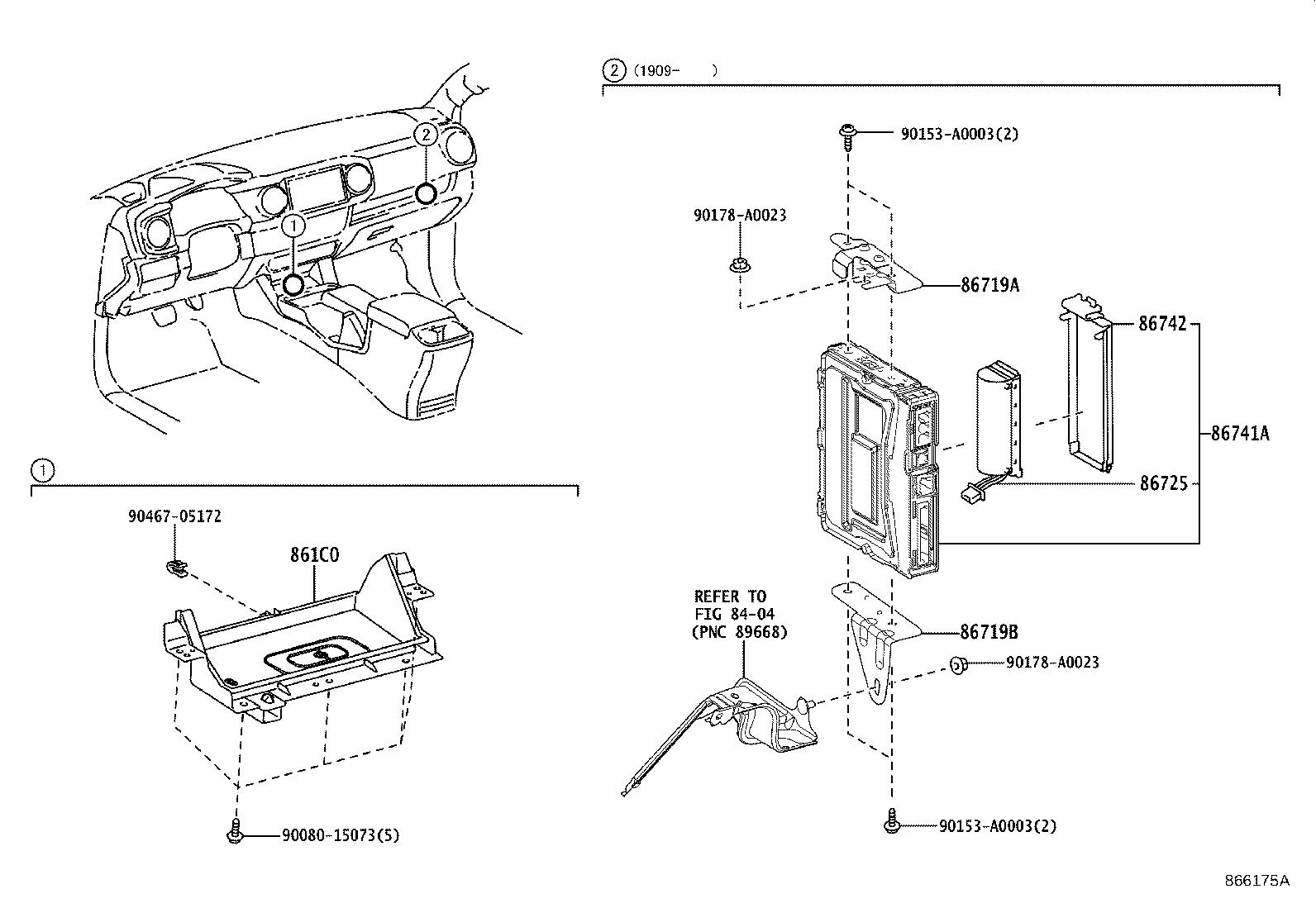 Toyota Tacoma Cradle assembly, mobile wireless charger