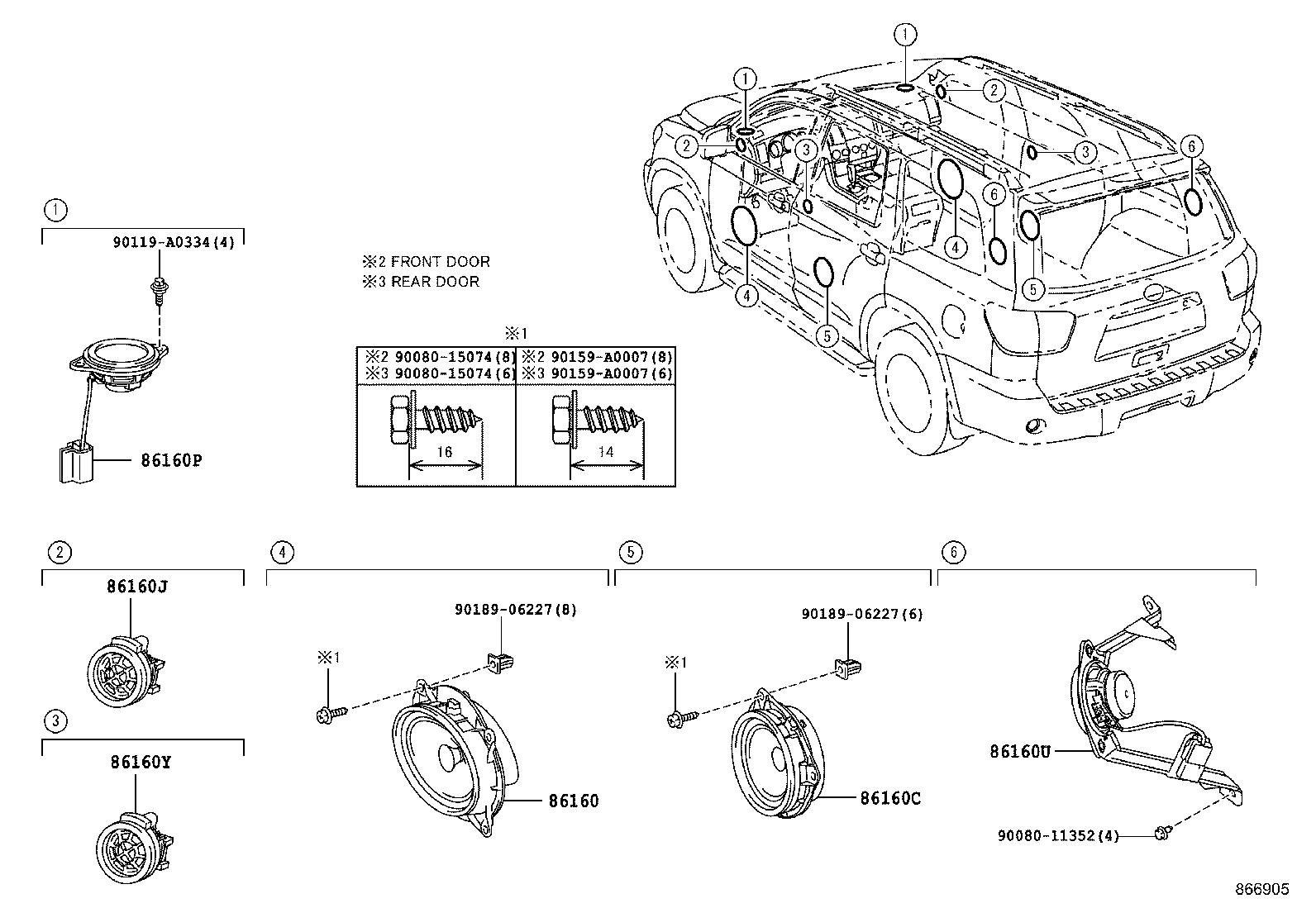 Toyota Sequoia Speaker (Front). FRONT NO. 3; FRONT NO. 4