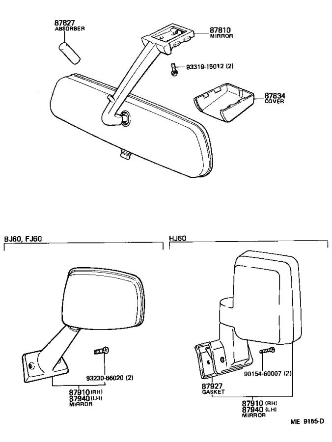 Toyota Land Cruiser Mirror assembly, outer rear view, left