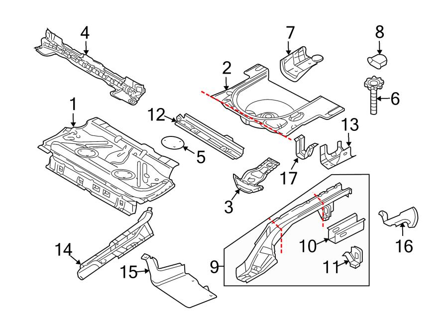 Volkswagen Beetle Center floor pan. Convertible,. BODY