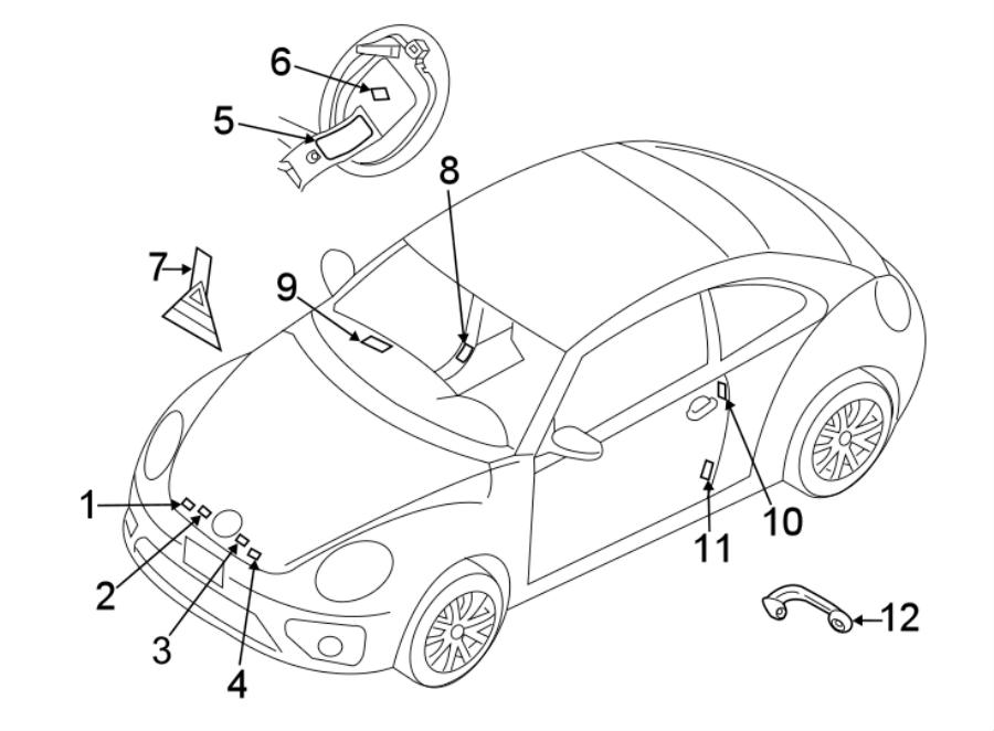 Volkswagen Beetle A/c system information label. Wagon