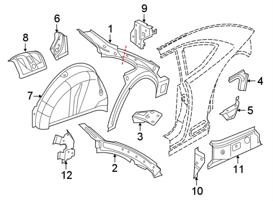Volkswagen Beetle Fender Bracket (Front, Rear, Upper