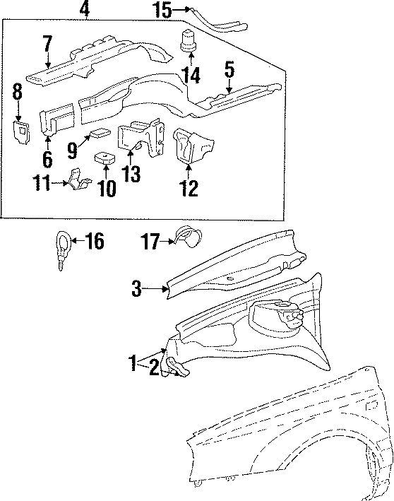 Volkswagen Cabrio Fender Apron Assembly. Right, COMPONENTS
