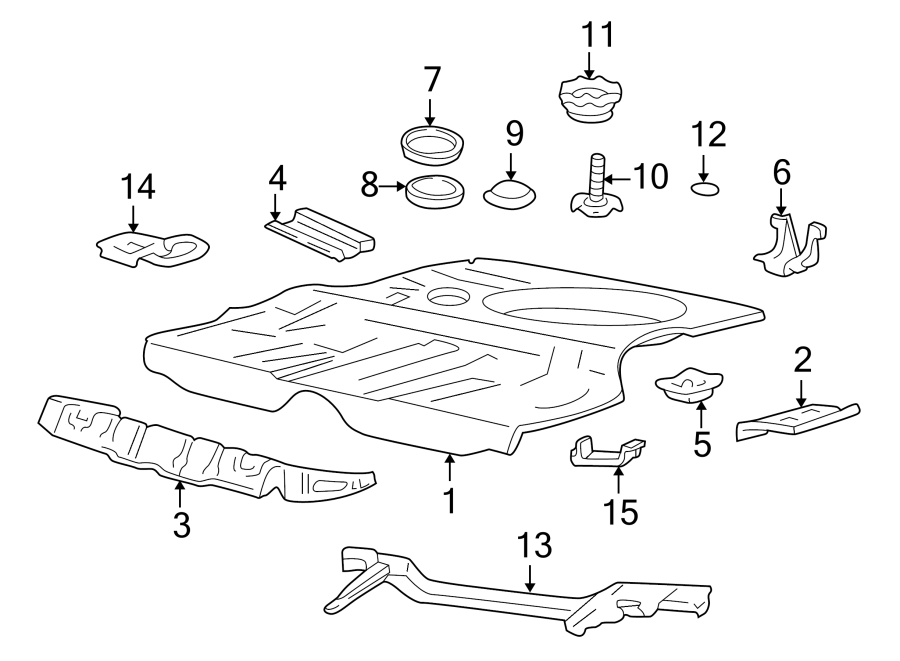 Volkswagen Cabrio Floor Pan (Rear). FLOOR & COMPONENTS