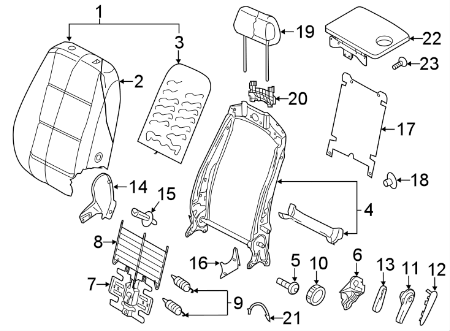 Volkswagen Tiguan Seat Back Cover. SEAT BACK COMPONENTS