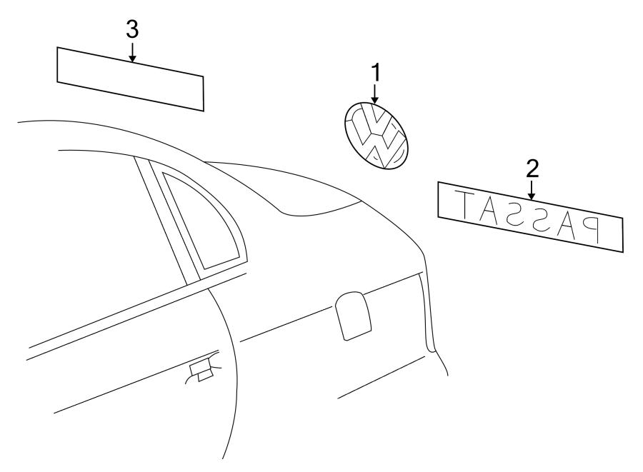 Volkswagen Golf Emblem. TDI. Deck Lid. Fork bolt. Handle