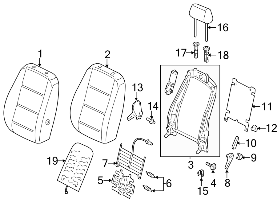 Volkswagen Passat Headrest Guide. 2012-15, SEAT BACK
