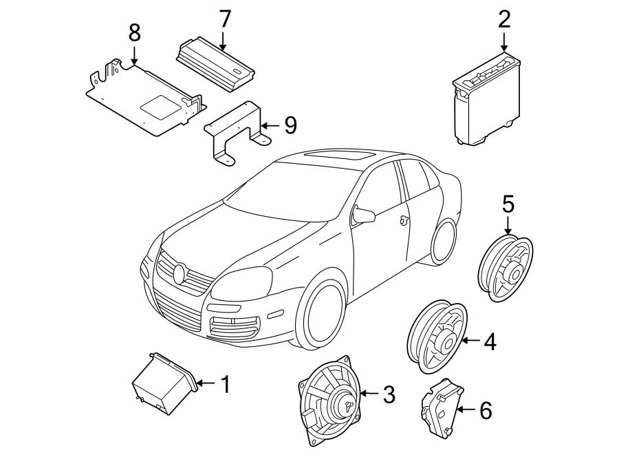 Volkswagen Jetta Speaker. Lower, WAGON, System