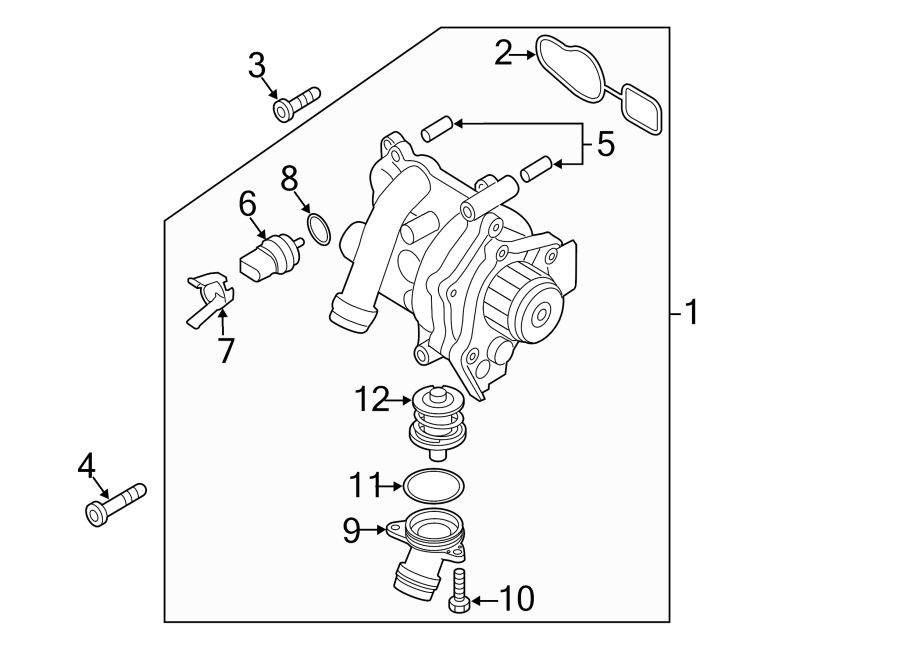 Volkswagen Eos Engine Coolant Thermostat. 2009-16, MAIN