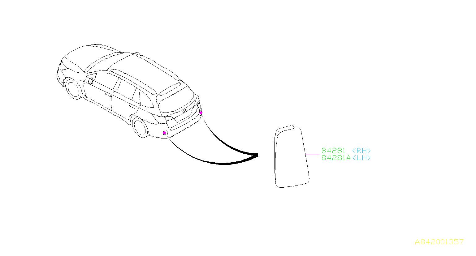 Subaru Outback Reflex reflector assembly-right. Rear, lamp
