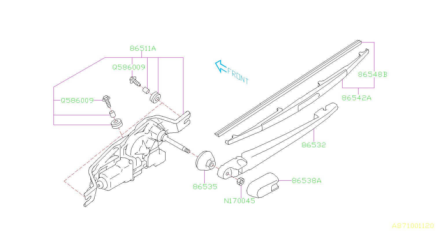 2013 Subaru WRX Arm assembly-rear wiper. Electrical