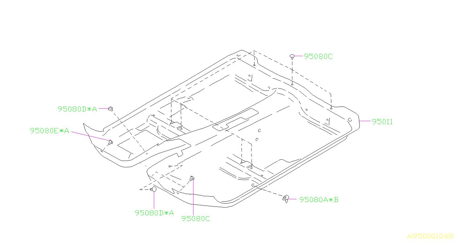 2000 Subaru Forester Clip Mat. NO.1. REAR, Interior, FRONT