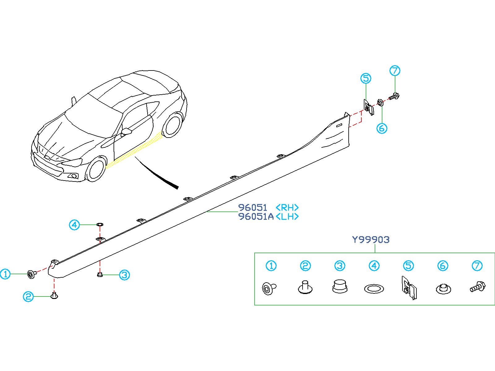 Subaru BRZ Installation Kit. Hardware Kit. SPOILER, SIDE