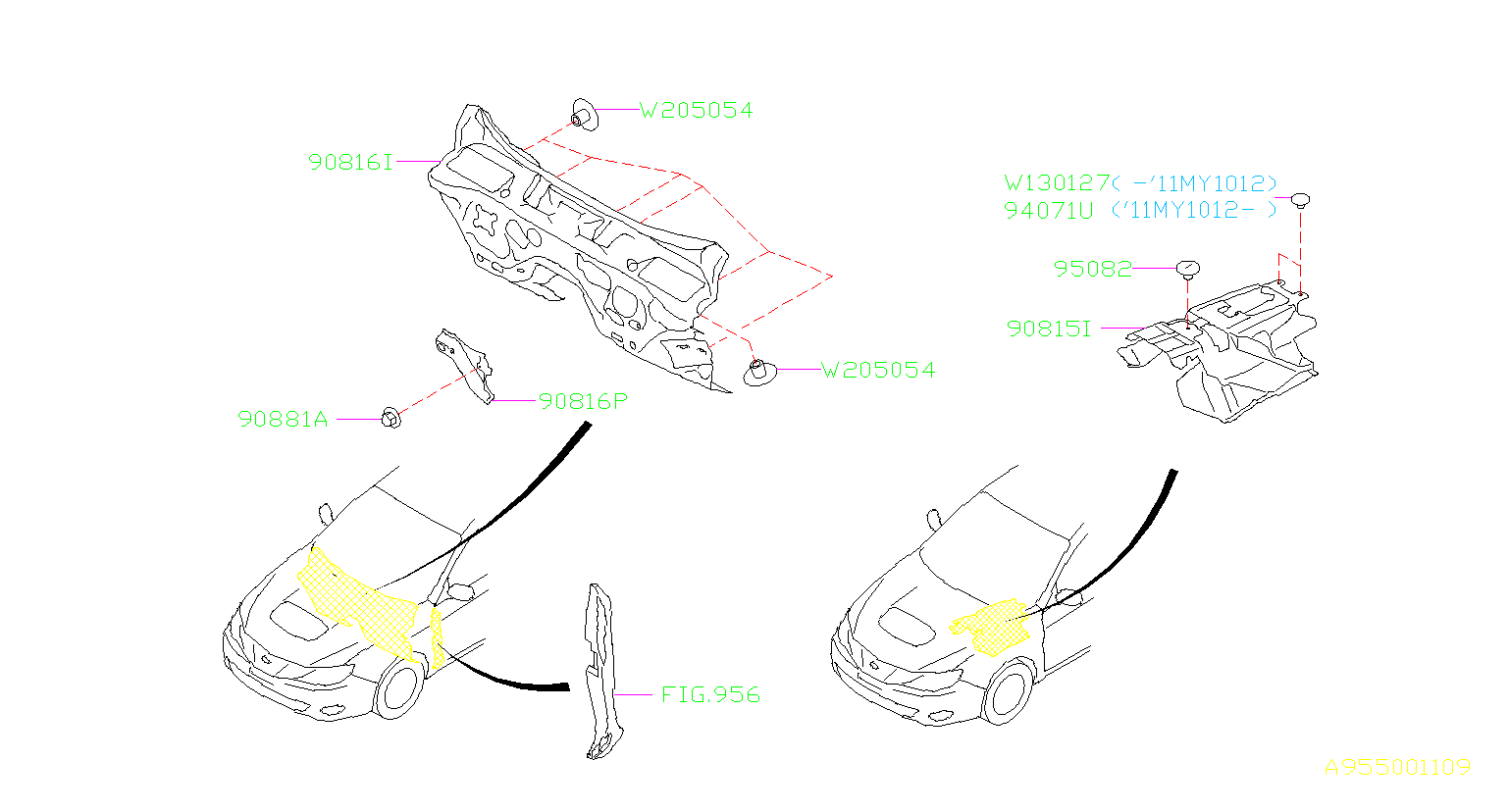 Subaru Clip Cover Side Sill Wiring Main Rear