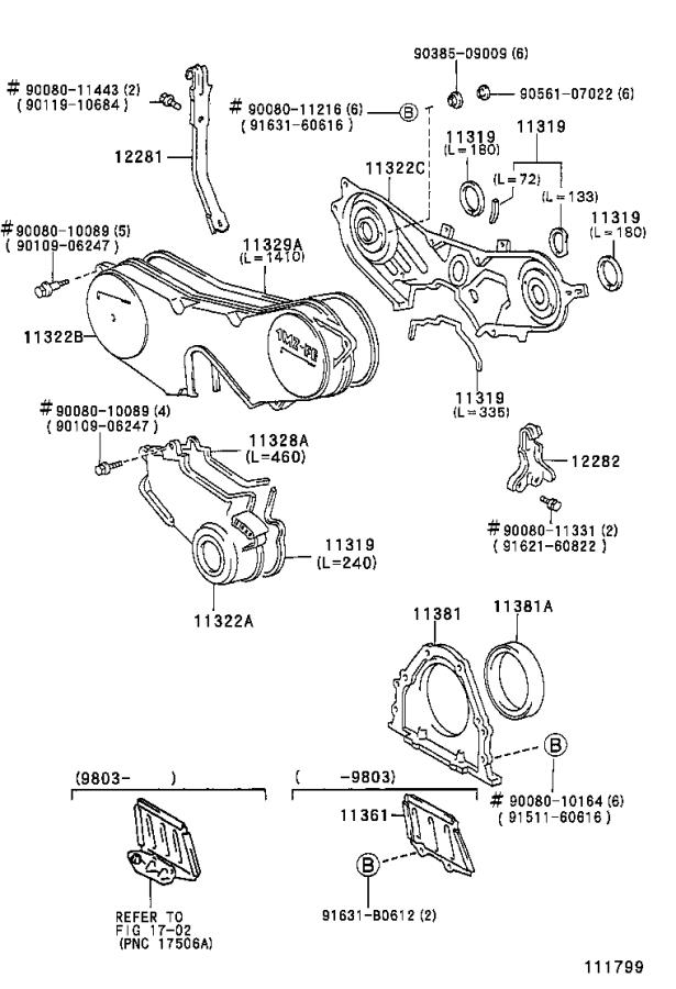 2001 Toyota Camry Engine Timing Cover Gasket (Rear