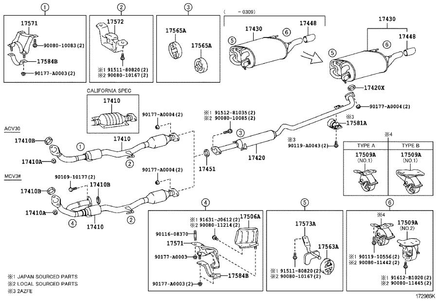 2004 Toyota Camry Bracket, exhaust pipe support, no. 1