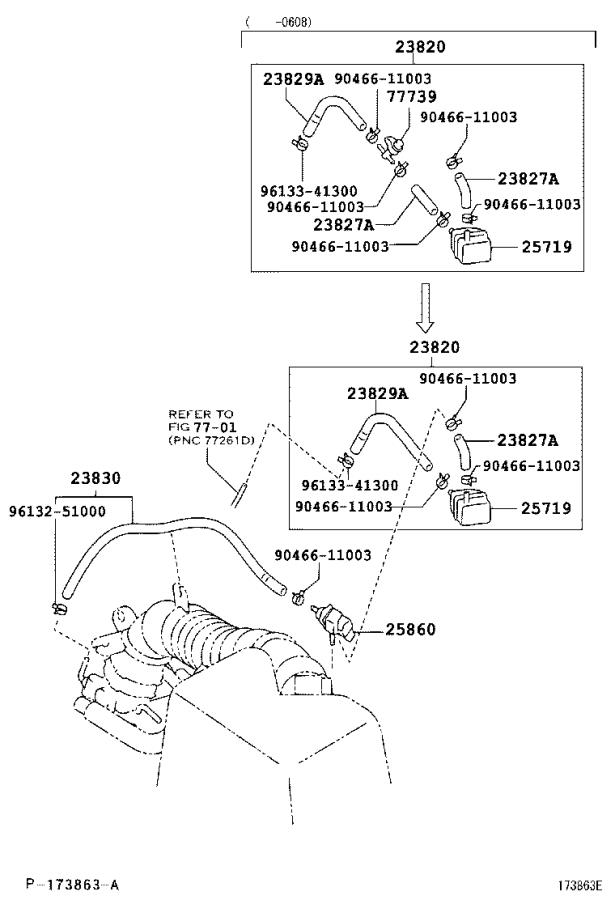 2002 Toyota Highlander Hose, fuel vapor fee. Engine