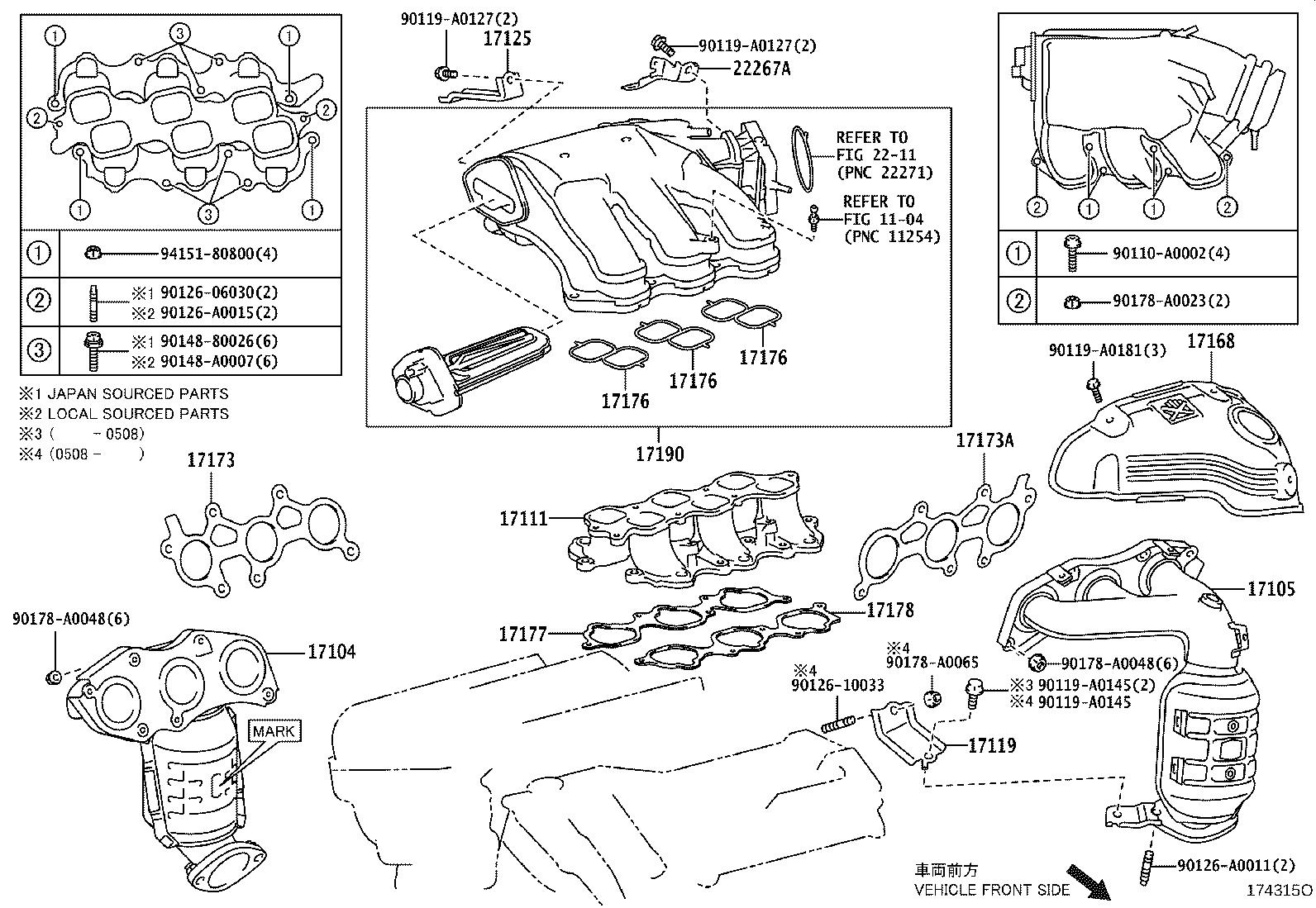 2007 Toyota Avalon Catalytic Converter with Integrated