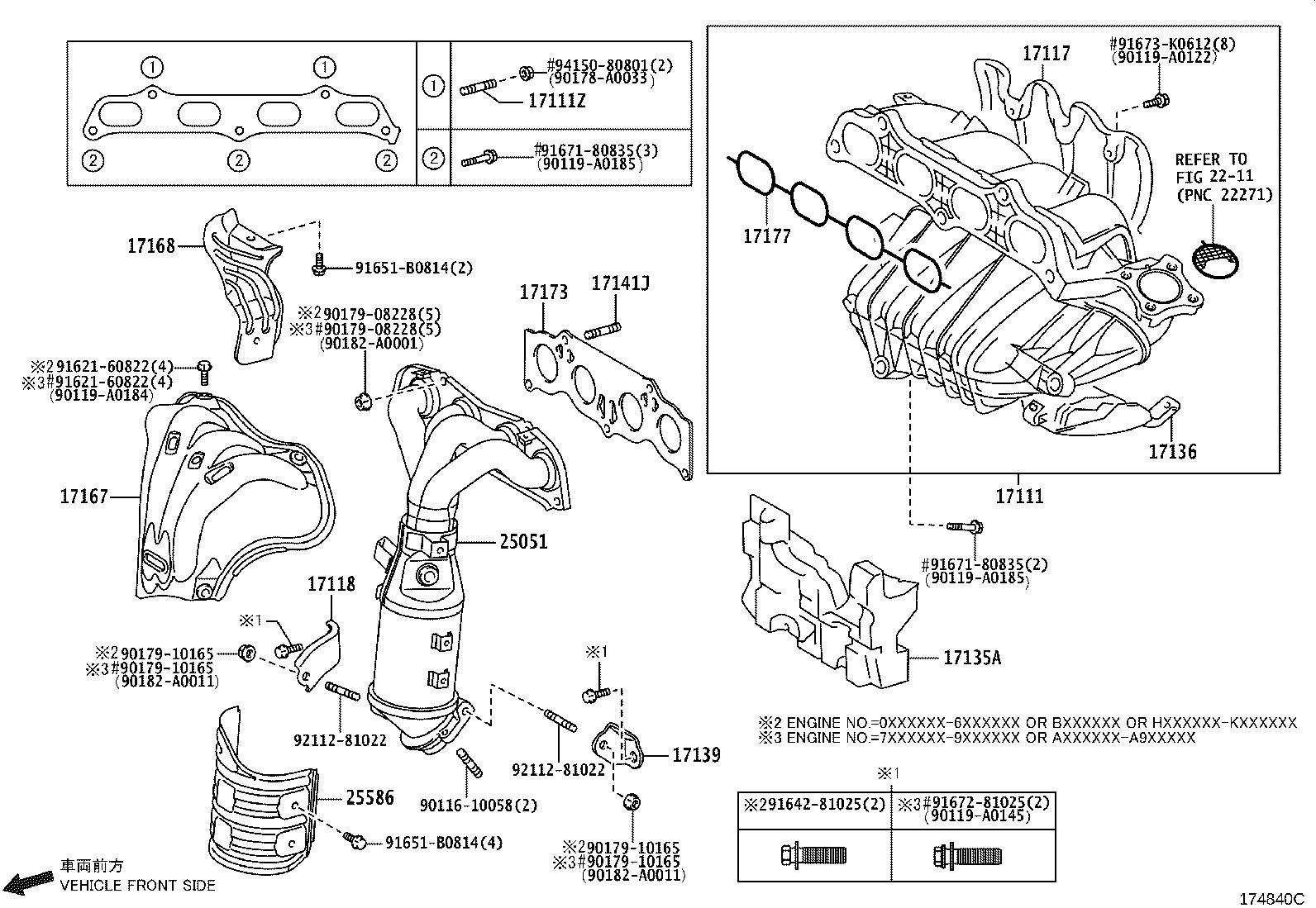 Toyota Camry Engine Intake Manifold Gasket Exhaust