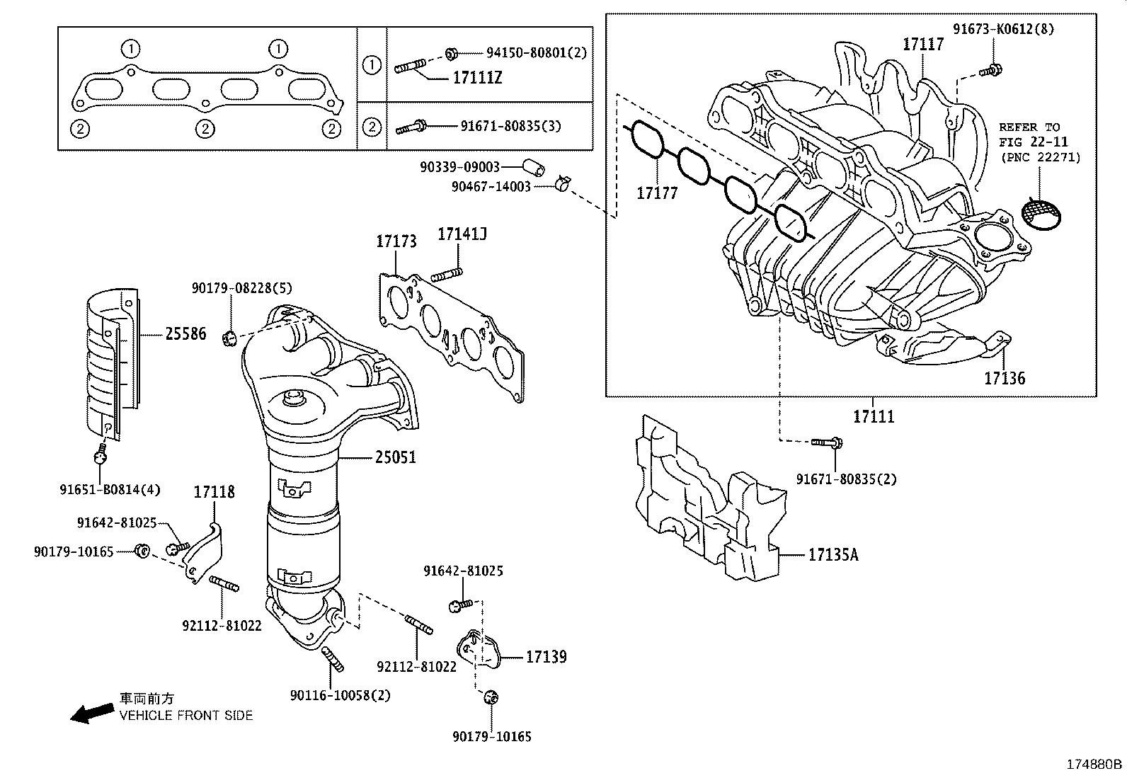 2007 Toyota Camry Converter sub-assembly, exhaust manifold