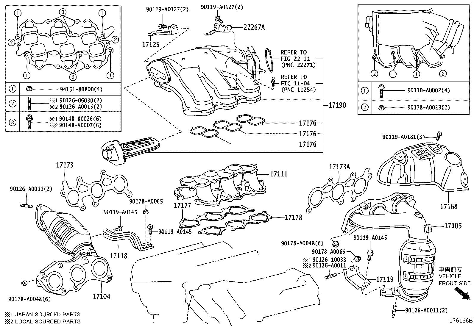 Toyota Rav4 Converter Sub Assembly Exhaust Manifold Engine