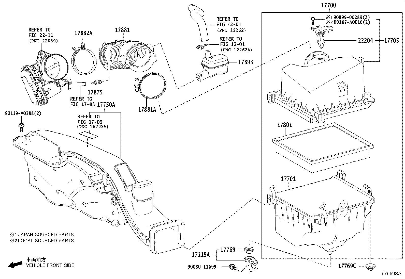 Toyota Camry Air Filter And Housing Assembly Engine